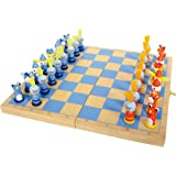 """6084 Scacchi """"Cavaliere"""" small foot in legno, gioco da viaggio con 32 scacchi in stile cavalleresco in legno, dai 6 anni in poi"""