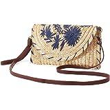 JOSEKO bolso de mensajero tejido de paja, bolso de mano tejido de paja, bolso de hombro de mujer, bolso de mensajero de mujer