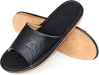 Taidor Leather Slippers, Open Toes Indoor Slippers Leather Flat Slide Sandals Casual House Shoes Office Slippers for Mens