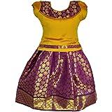 LOTUS ETHNIC Girl's Jacquard Neck Pattu Pavadai LEHENGA CHOLI Chaniya Choli (0-9 Years)