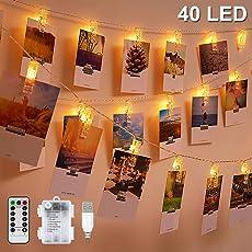 LED Foto Lichterkette, Warmweiß, Nasharia 5 Meter/Lichterketten-8 Modi 40 Foto-Clips, USB/Batteriebetrieben Stimmungsbeleuchtung, Dekoration für Wohnzimmer, Weihnachten, Hochzeiten, Party