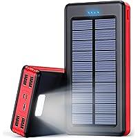 Solar Powerbank 30000mAh Externer Akku, Solar Ladegerät mit LED Licht, 4 Ausgänge und 3 Eingangswege, Handy Ladegerät…