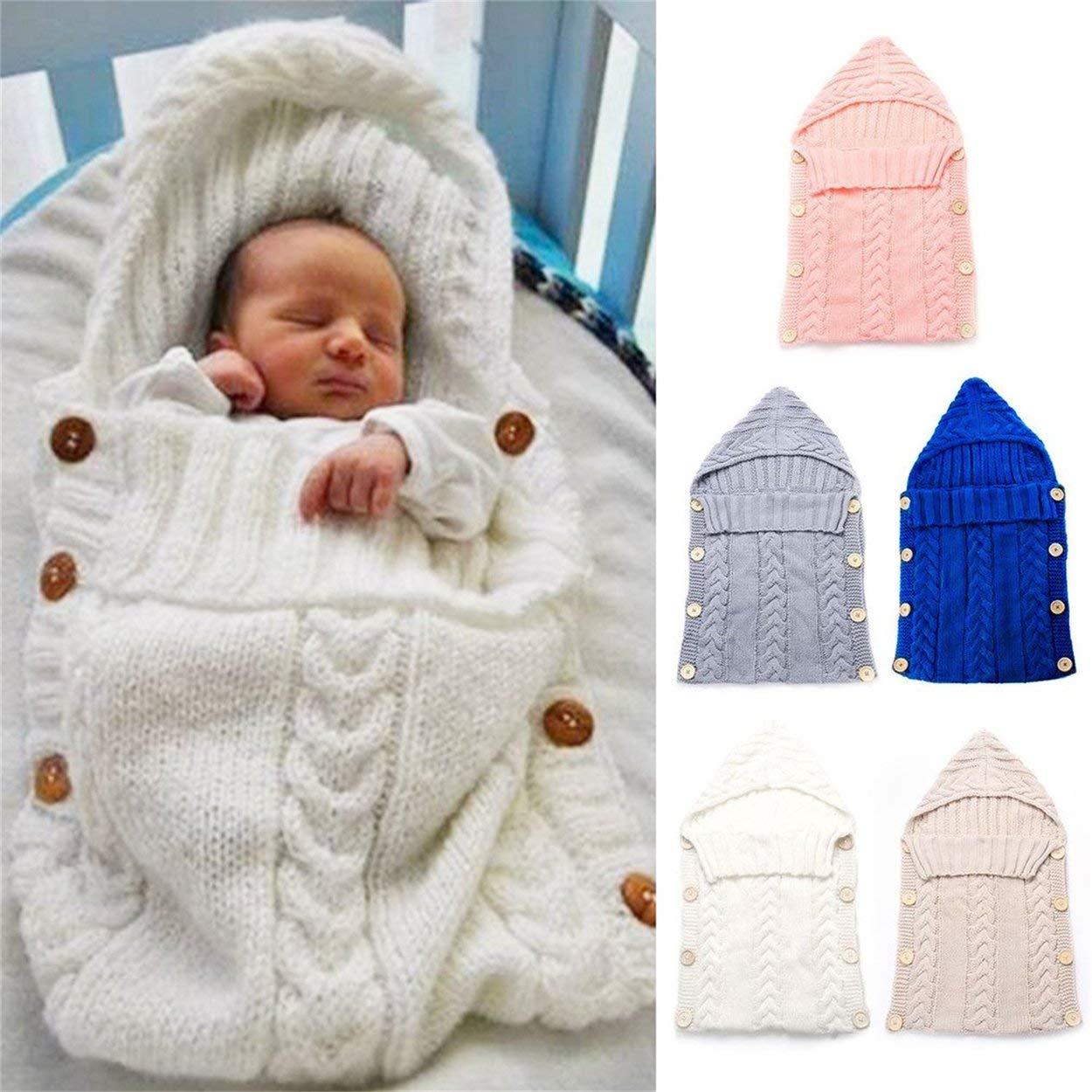 Lorenlli Saco de dormir para bebés recién nacidos Fibras de acrílico Sudaderas con capucha Swaddle Wrap Grueso cálido bebé Estera de dormir Manta Swaddling Sweater