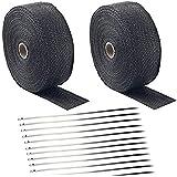 Deecam Ruban Isolant Thermique Bandage 2 Rouleau 15m + 24 attaches de câble en Acier Inoxydable pour Tuyeau Collecteur Echapp