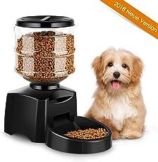 Amzdeal Futterautomat Katze, Automatischer Futterspender für Katze und Hunde, Futterautomat Programmierbar mit Timer/LCD Bildschirm/Ton-Aufnahmefunktion, 5.5 L