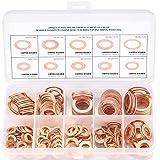 Cuivre Rondelles Metal, Joints Bague D'étanchéité, Rondelles Plates, Joint Torique avec Boîte pour L'étanchéité - 200 Pcs/M5