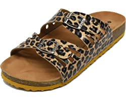 ONCAI Women's Open Toe Footbed Sandals Suede Leather Strap Buckle Cork Slide Mules