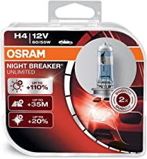 Osram NIGHT BREAKER UNLIMITED H4, Halogen-Scheinwerferlampe, 64193NBU-HCB, 12V PKW, Duobox (2 Stück)