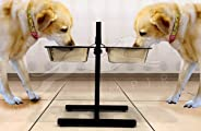 Pets Empire Stainless Steel Double Stand Dog Food Square Bowl (Large, 2 X 2800 ml)