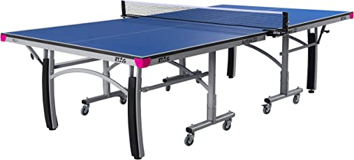 Stag Active 22 Table Tennis Table Top Thickness 22mm with Net Set, Table Cover, 2 Racquets and 6 Balls Features Quick Assembly and Playback Mode