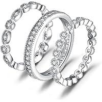 JewelryPalace 3 Anelli Donna Argento 925, Fedine Fidanzamento Coppia, 2.1ct Diamante Simulato Anniversario Matrimonio…
