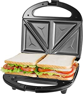 Tostiera Sandwich Maker, Piastra Per Sandwich Toast 2 Posti, Cool Touch Sandwich Maker 750w, Gancio Chiusura Piastre Tostapane, Spie LED, BPA Assente, nero OSTBA