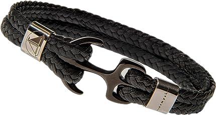 SEMPAH Herren Anker-Armband aus Hochwertigem Kunst-Leder mit Edelstahl Anker Schwarz/Silber 21cm & 23cm Länge inkl. Geschenkbox