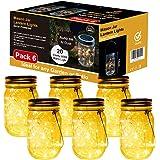 Lampada Solare, 6 Pezzi Lampade Solari Barattolo di Vetro Illuminante Impermeabile Lampade con 20 LED per da Esterno…