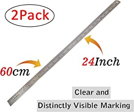 2Pcs Stainless Steel Ruler Scale Long 2 Side Measuring Tool for Architects, Engineers, College Students (60cm-2feet)