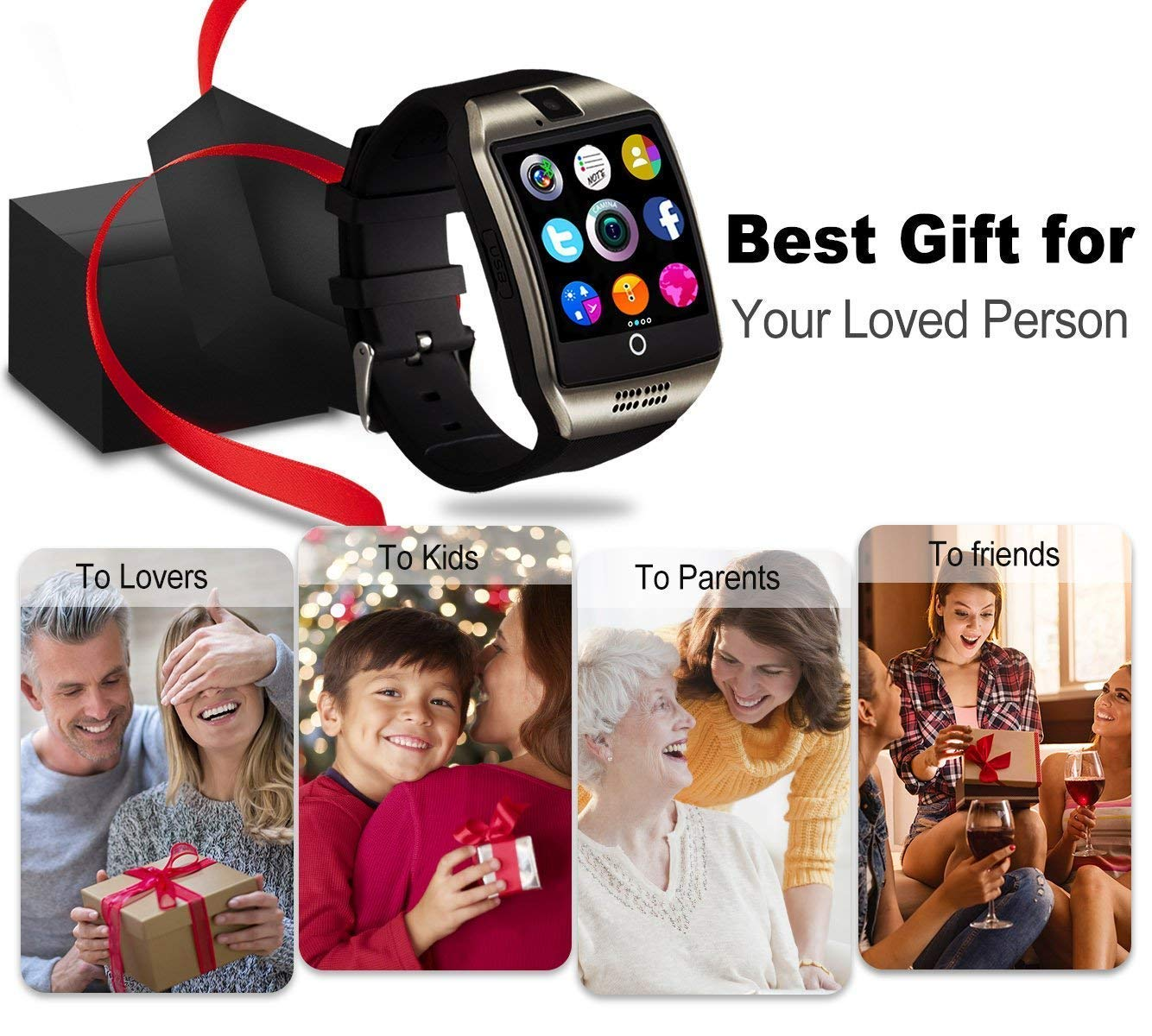 Smartwatch, Impermeable Reloj Inteligente Redondo con Sim Tarjeta Camara Whatsapp, Bluetooth Tactil Telefono Smart Watch… 6
