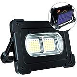 ERAY Luz de Trabajo, Foco LED Recargable 80W 6000 Lúmenes/Panel Solar/ 4 Modos de Iluminación/ IP65/ Batería Externa de 10000