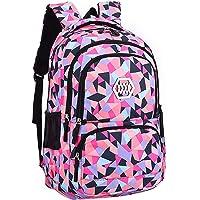 SellerFun Girl Geometric Printed Primary Junior High University School Bag Bookbag Backpack(2# Black,19L)