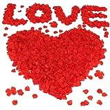 Vockvic 1000pcs Petali di Rosa, Seta Artificiali Petali di Rosa Finti Rossi, Decorazione Romantica per Matrimonio, Festa dell