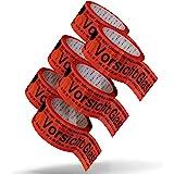 Pakketband Voorzichtig glas breekbaar 5 cm x 66 m in rood (6 rollen) - Voorzichtig glas pakkettape extra sterk - meertalig pl