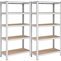 SONGMICS GLR80SV - Set di 2 scaffali per carichi pesanti, 180 x 90 x 40 cm, portata fino a 875 kg, 5 ripiani regolabili…