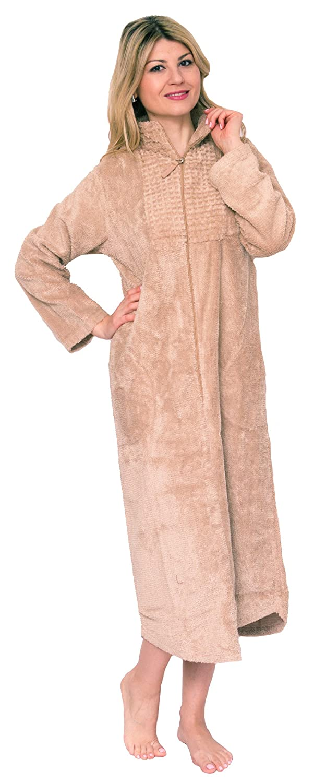 Bath & Robes Women\'s Luxury Cotton Chenille Dressing Gown Zip ...