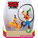 Bullyland 15085 – Juego de Figuras de Juguete, Walt Disney Mickey Mouse Set de Regalo de Pluto y Goofy, Figuras pintadas a Ma