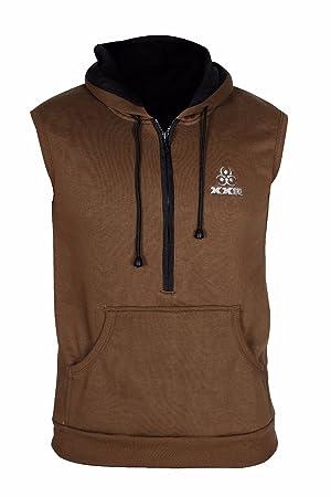 bc36d7a7e5830 XXR Half Zip Hoodie Sleeveless Gym Top Sweat Shirt Fleece Hood Fitness  Exercise  Amazon.co.uk  Sports   Outdoors