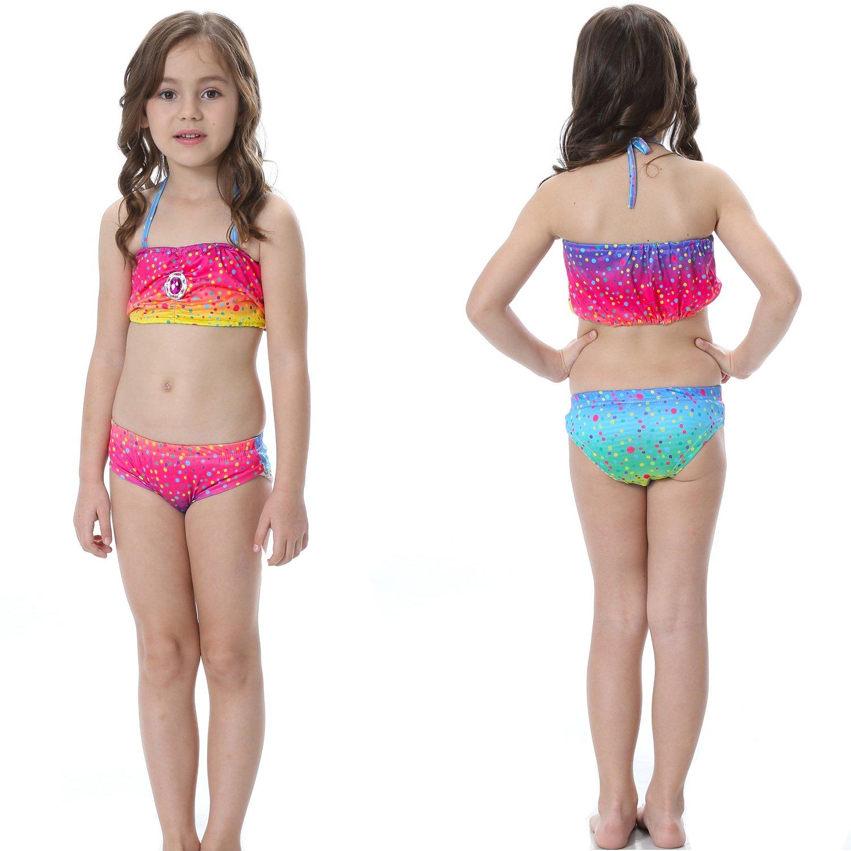 b38ae8bac603 3 Pezzi Ragazze Marmaids Sirena Costume da Bagno Swimsuit Swimwear Bikini  Set Monopinna 3-12 anni