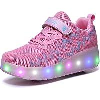 Axcer LED Luci Brillantini Scarpe Sportive con Rotelle Retrattile Singolo Ruote Skateboard Sneakers Outdoor Multisport…