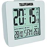 Telefunken Wecker Funkwecker digital LCD DCF mit Thermometer Temperaturanzeige und Kalender autom. Zeitumstellung weiß FUD-25 (W)