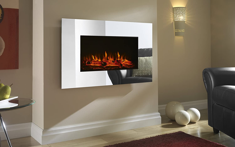 shrewsbury led wall mounted electric fire mirror amazon co uk
