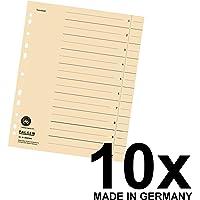 Original Falken 10er Pack Trennblätter. Made in Germany. Aus Recycling-Karton für DIN A4 hellchamois Trennlaschen Trennblätter Ordner Register Kalender Blauer Engel
