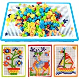 Mehrfarbige Puzzle Spielzeug DIY Pilz Nägel Steckspiele Kinder Baby Spielzeug Bildungs Puzzle Set 296PCS, ab 3 Jahre