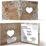 Lasergeschnittene Hochzeit Einladungskarten (20 Stück) - Rustikal mit weißer Spitze - Hochzeitskarten