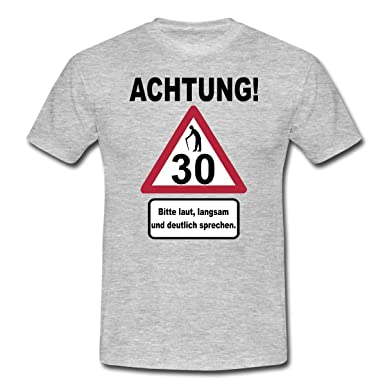 Spreadshirt 30. Geburtstag Verkehrsschild Achtung Langsam Sprechen Männer  T Shirt, S, Grau