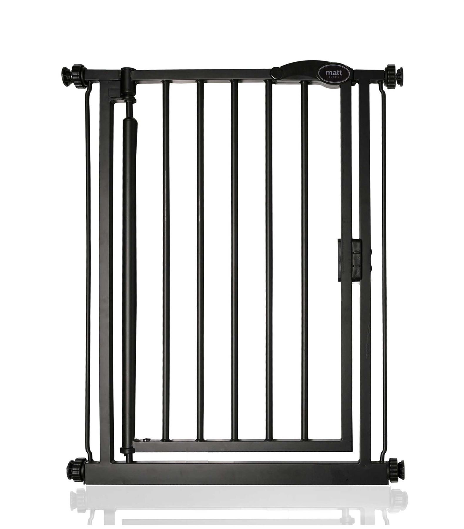 Safetots Auto Close Baby Gate Matt Black Range (61cm - 66.5cm) Safetots Fits openings from 61cm to 66.5cm Pressure fitted Stair Gate with Matt Black Finish One-handed operation with auto close function 1