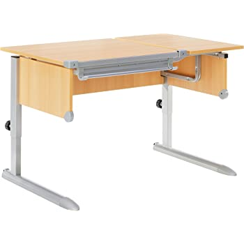 Kettler Kids Comfort ll Schülerschreibtisch – 6-fach höhenverstellbarer Kinderschreibtisch MADE IN GERMANY – flexible Tischplatte – höhen- und neigungsverstellbarer Schreibtisch – Buche & silber