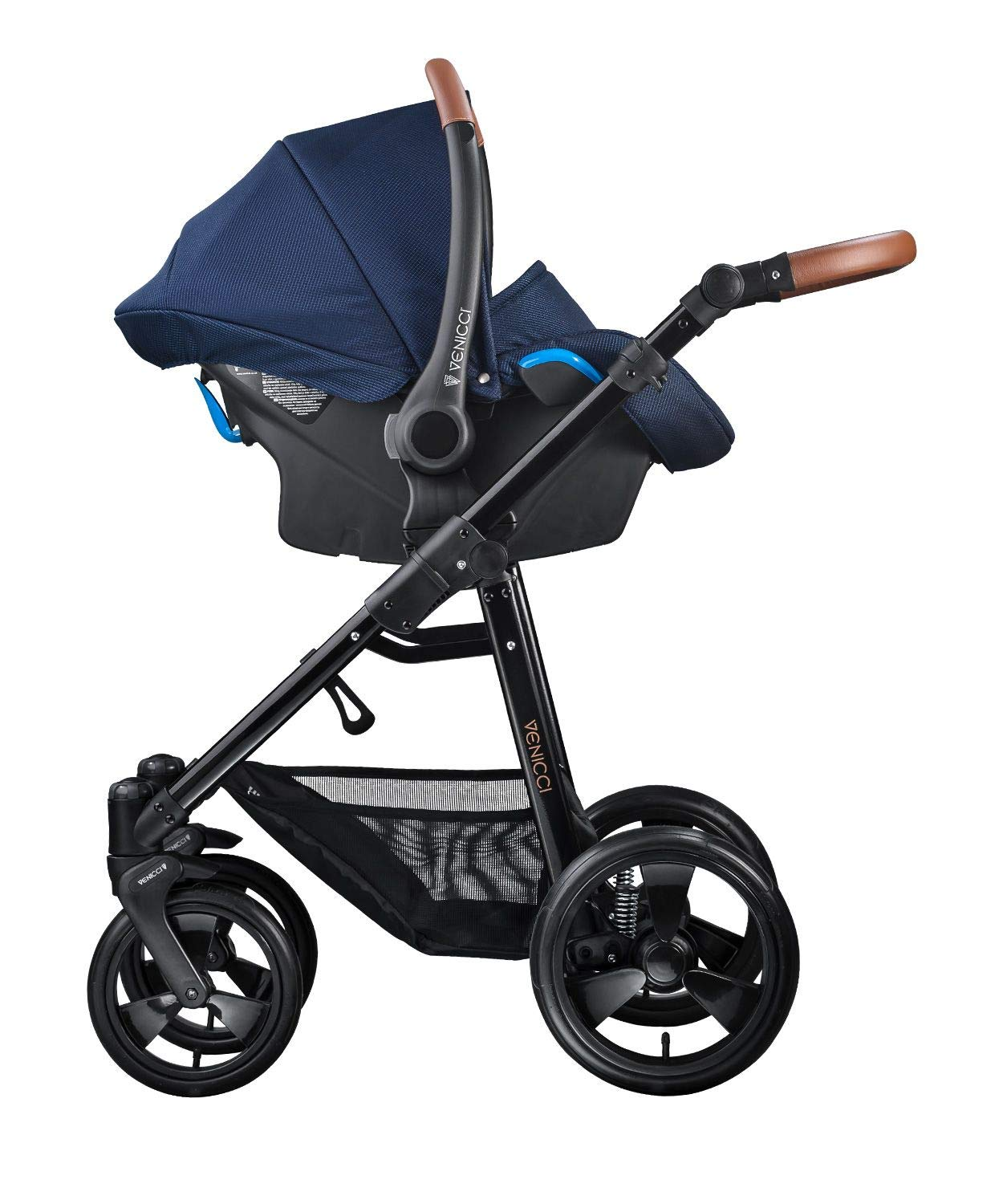 Venicci Gusto 3-in-1 Travel System - Navy - with Carrycot + Car Seat + Changing Bag + Footmuff + Raincover + Mosquito Net + 5-Point Harness and UV 50+ Fabric + Car Seat Adapters + Cup Holder  3 in 1 Travel System with included Group 0+ Car Seat Suitable for your baby from birth onwards 5-point harness to enhance the safety of your child 4