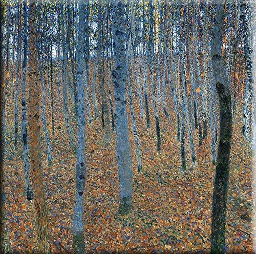 Time4art Gustav Klimt Print Canvas Bild Birkenwald Birchwood Jugendstil auf Keilrahmen Leinwand...