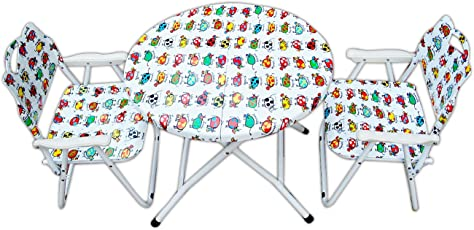 Amaze Folding Steel Animal Printed Tabl and 2 Chair Set (Multicolour)
