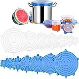Newdora Tapas de Silicona Elásticas, 14 Tapas Silicona Ajustables Cocina, Reutilizable Fundas Protectoras para Alimentos Tapa
