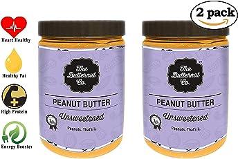 The Butternut Co. Unsweetened Peanut Butter 2kg (Creamy) (1 Kg Pack of 2)