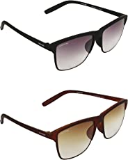 Creature Black and Brown Matt Finish Unisex Wayfarer Sunglasses Combo with UV Protection (Lens-Purple & Brown||Frame-Black/Brown||Doit-001-002)