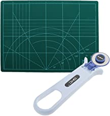 Segolike A4 Self Healing Grid Lines Cutting Mat Non Slip Under Board + 28mm Rotary Cutter Sewing Quilting Cutting DIY Tool