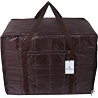 Kuber Industries Parachute Jumbo Underbed Moisture Proof Storage Bag with Zipper Closure and Handle (Brown) -CTKTC6899