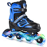 Adjustable Inline Skates for Kids and Adults with Full Light Up Wheels , Deoxys Outdoor Roller Skates for Girls and Boys…