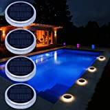 Solar Deck Lights, Driveway Walkway Dock Light Solar Powered Outdoor Waterproof Stair Step Pathway Ground LED Lamp for Backya