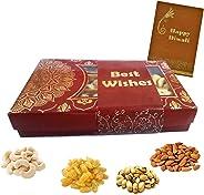 Maalpani Diwali Dryfruit Gift Hamper - Diwali Card - 7 x 5 - Diwali Dry Fruit Gift / Bhai dooj Gift / Corporate Festival Gift 50g Kaju , 50g Badaam , 50g Kishmish , 50g Pista (200g Dry Fruits)