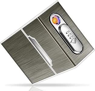 Lynlon 2-in-1 Aluminium Zigarettenetui mit Feuerzeug Elektronisch | Schwarz
